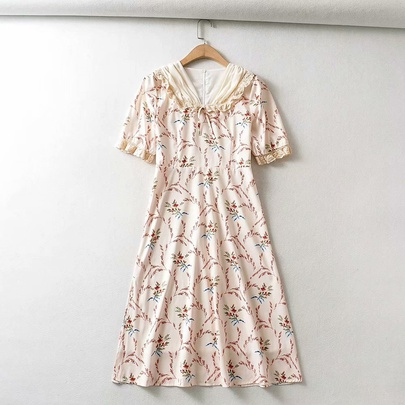 Lace Stitching Floral Short-sleeved Dress NSAM49507