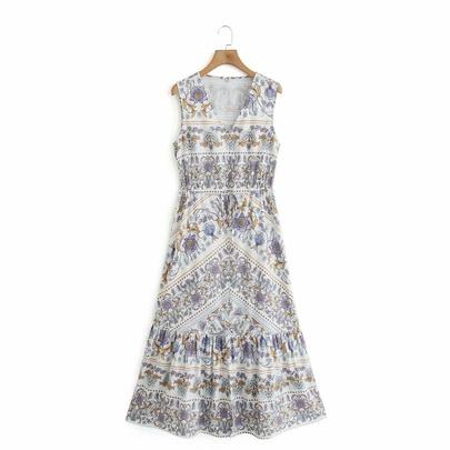 Spring Printing Sleeveless Dress NSAM49513