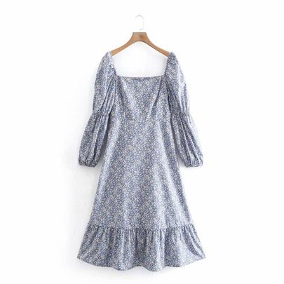 Spring Mid-length Printed Long-sleeved Dress NSAM49514