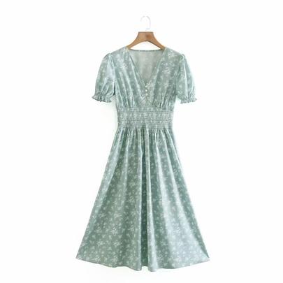 Spring Short-sleeved Printed Dress NSAM49516