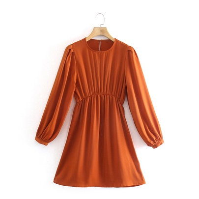 Retro Round Neck Long Sleeve Mini Dress NSAM49517