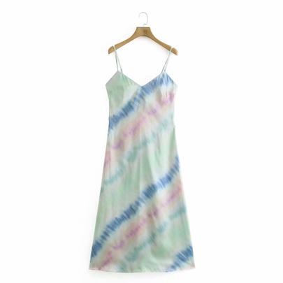 Spring Tie-dye Silk Satin Texture Dress NSAM49518