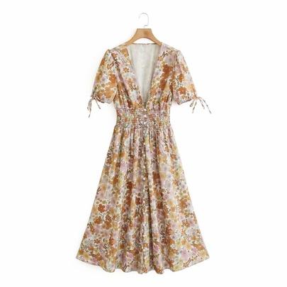Spring Print Long Dress NSAM49520