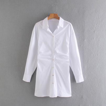 New Pleated Poplin Shirt Dress NSAM49521