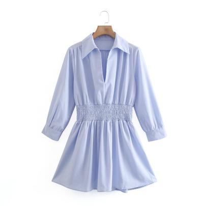 V-neck Elastic Waist Simple Shirt Dress NSAM49527