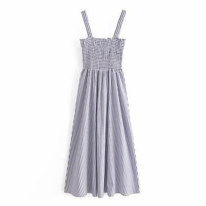 Spring Striped Suspender Dress NSAM49528
