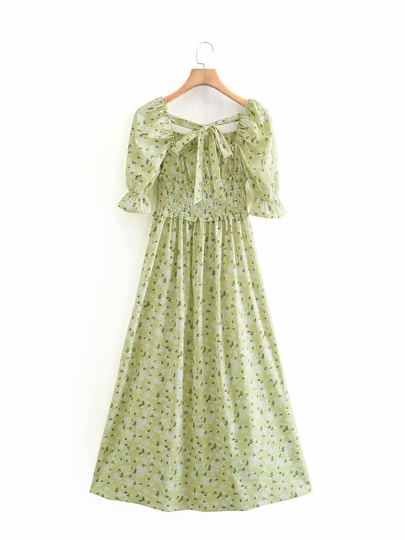 Spring Printed Square Neck Dress NSAM49530