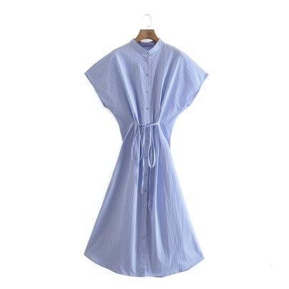 Summer New Retro Striped Mid-length Dress NSAM49532