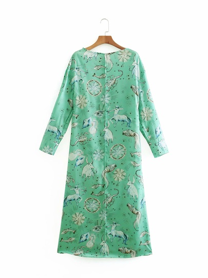 New Print Early Spring Round Neck Long Sleeve Dress NSAM49538
