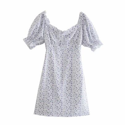 Summer Vacation Short-sleeved Floral Dress NSAM49541
