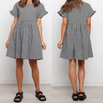 New Plaid Waist Drawstring Slim V-neck Dress NSJR49544