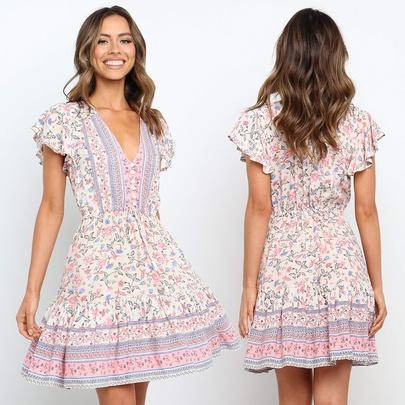 Summer Fashion V-neck Short-sleeved Dress  NSJR49545