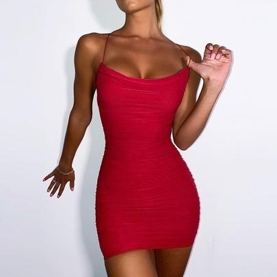 Summer Sexy Mesh Pleated Dress NSMI49550