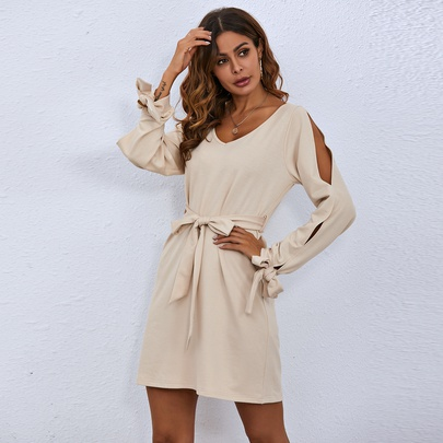 V-neck Hollow Long Sleeve Slim Dress NSAL49558