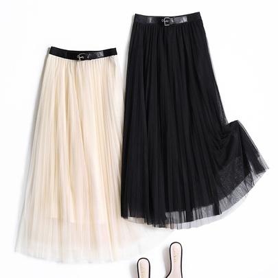 Pleated Net Yarn Mid-length Skirt  NSYZ49640
