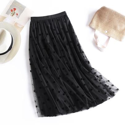 Embroidered High Waist Gauze Skirt NSYZ49642