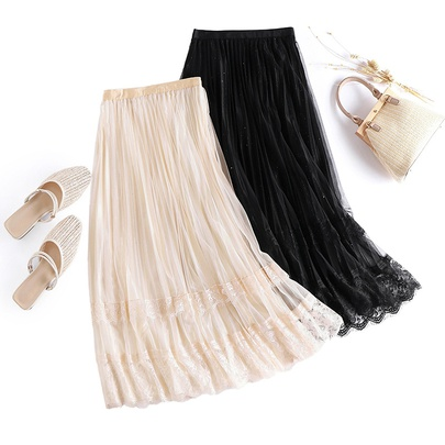 Lace Lace Casual Sequined Mesh Skirt   NSYZ49643