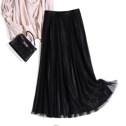 Elastic Waist Simple Yarn Skirt   NSYZ49644