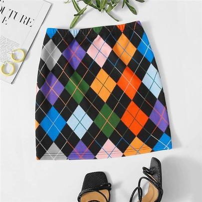 Contrast Color Diamond Lattice Skirt  NSSMJ49647