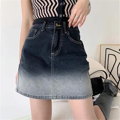 High Waist Gradient Color Denim Skirt NSAC49697