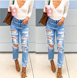 Summer New Fashion Sexy Ripped Jeans NSYF49730