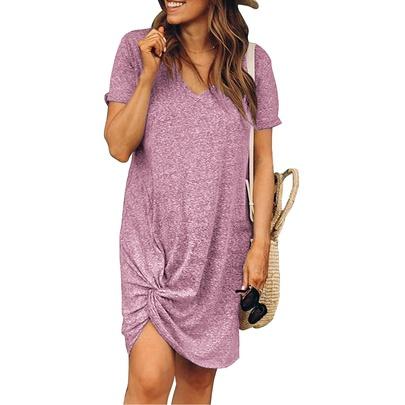 Summer New Round Neck Short-sleeved Dress NSYF49732