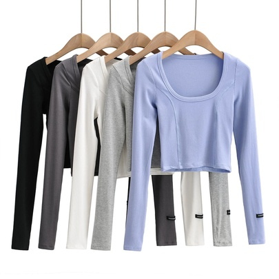 Casual Solid Color Long-sleeved Tops NSAC49736