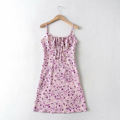 Spring Print Sling Slim Floral Dress  NSAM49746