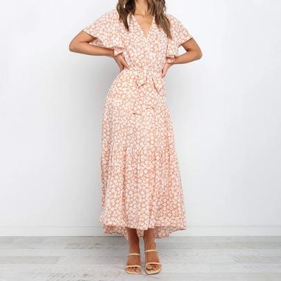 Summer New Short-sleeved Lace-up Dress NSJR49780