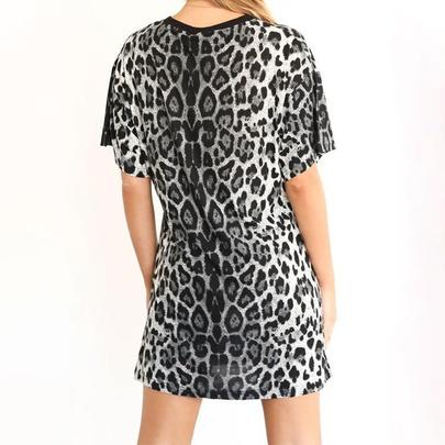 Short-sleeved Leopard Print Loose Short Dress NSJR49781
