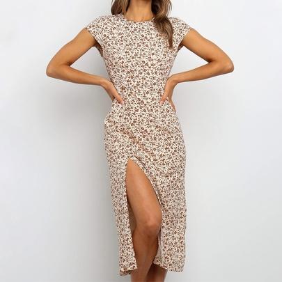 Summer New Short-sleeved Mid-length Dress NSJR49782