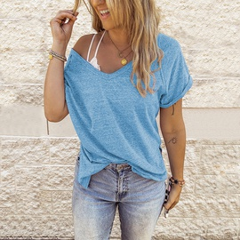 Loose V-neck Short-sleeved T-shirt NSLZ49841