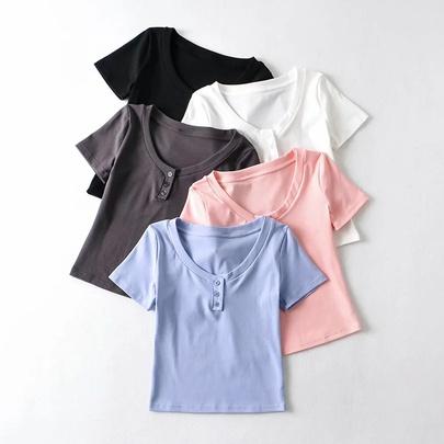 Simple Three-button Short-sleeved T-shirt NSAC49918