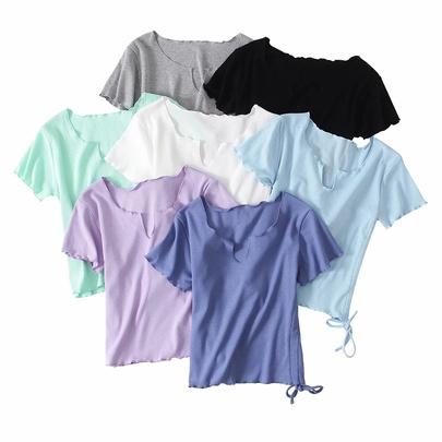 Short-sleeved Side Drawstring Solid Color T-shirt  NSAC49928