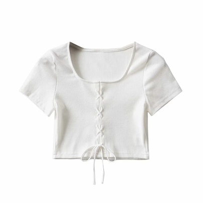 Sexy Tie Rope Hollow Short-sleeved T-shirt NSAC49933
