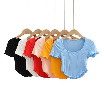 U-neck Solid Color Short Stretch T-shirt NSHS49936