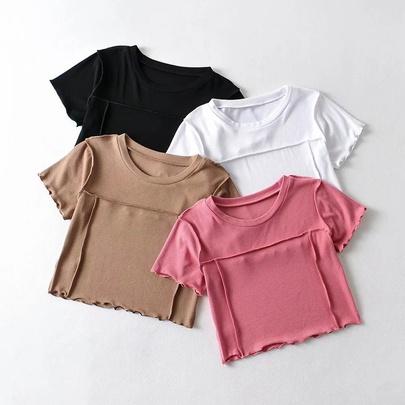 Sexy Splicing Short-sleeved Elastic T-shirt NSHS49937