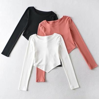 Irregular Simple Stretch Long-sleeved Tops NSAC49944