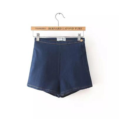Summer New  High Waist Zipper Stretch Denim Shorts NSAC49948