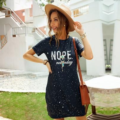 Summer New Print Short Sleeve Round Neck Skirt NSSI49979