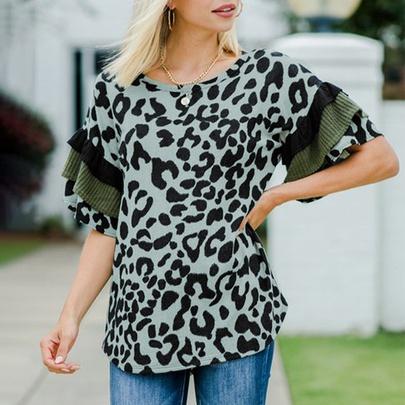 Leopard Print Stitching Lotus Leaf Sleeve T-shirt   NSSI50022
