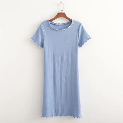 Contrast Color Lace Short-sleeve Dress NSAM50049