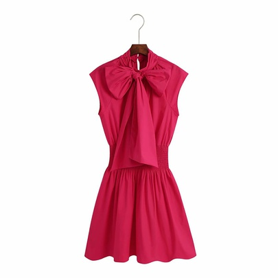 Solid Color Bow Sleeveless Waist Dress NSAM50062