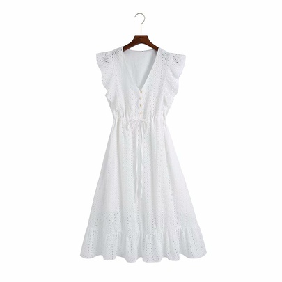 V-neck Flying Sleeve Embroidery Hollow Dress NSAM50065