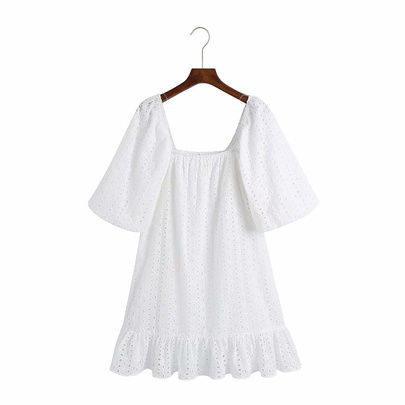 Square Neck Hollow Embroidery Mini Dress  NSAM50067