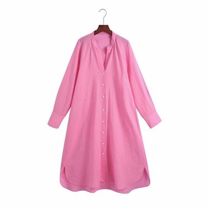 Linen Long Sleeve Midi Shirt Dress  NSAM50069
