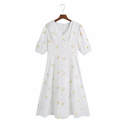 V-neck Floral Embroidery Long Dress NSAM50071