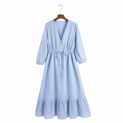 Embroidery Hollow Drawstring Long-sleeved Dress NSAM50074