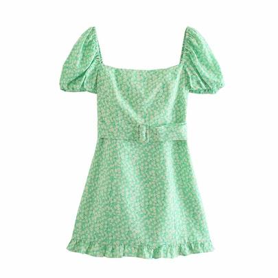 Puff Sleeve Belt Printed Linen Dress  NSAM50077