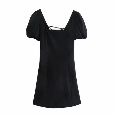 Linen Square Neck Back Lace-up Dress  NSAM50079
